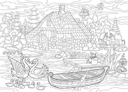 Coloring book page of rural landscape, farm house, ducks, kitten, swans, horses, frog, storks, flock of seagulls. Freehand drawing for adult antistress colouring with doodle and zentangle elements. Stock Vector - 80834697
