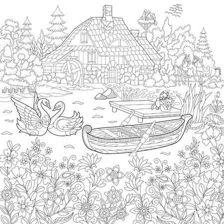 Coloring book page of rural landscape, flower meadow, lake, farm house, ducks, kitten, swans, horses, frog, storks. Freehand drawing for adult antistress colouring with doodle and zentangle elements. Stock Illustratie