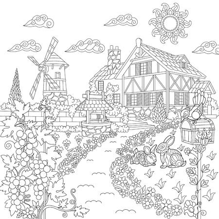 농촌 풍경의 색칠하기 책 페이지입니다. 농장 집, 풍차, 우물, 우체통, 토끼, 새, 포도 덩굴. 낙서 및 zentangle 요소와 성인 antistress 색칠에 대 한 자유형