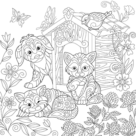Coloring page of puppy, cat, sparrow bird, dog booth, clover flowers and butterflies. Freehand drawing for adult antistress colouring book with doodle and zentangle elements. Ilustração