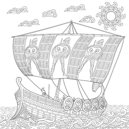 Coloring page. Ancient galley war ship. Freehand sketch drawing for adult antistress colouring book in zentangle style.