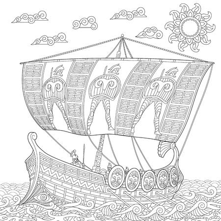 Coloriage. Ancien navire de guerre de galère. Dessin d'équisse à main levée pour le livre de coloriage antistress adulte en style zentangle. Vecteurs