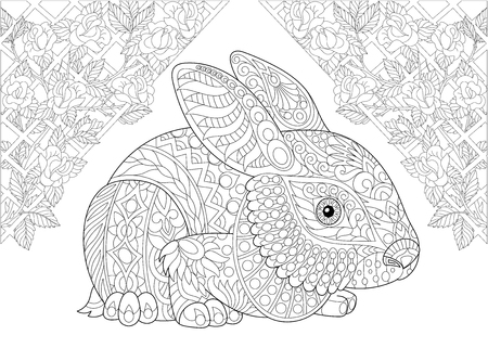 Coloring page. Rabbit from wonderland and rose flowers. Freehand sketch drawing for adult antistress colouring book in zentangle style. Illustration