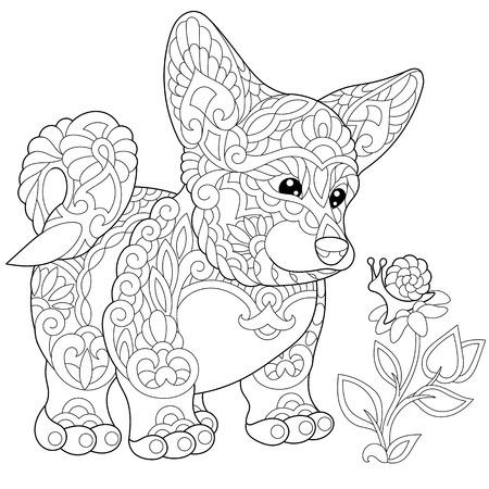 Dibujo Para Colorear De Corgi Galés Perro Y Mariposa En Una Flor ...