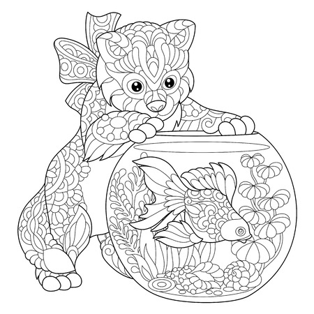 Coloring page of kitten wondering about goldfish in aquarium. Freehand sketch drawing for adult antistress colouring book with doodle and zentangle elements.