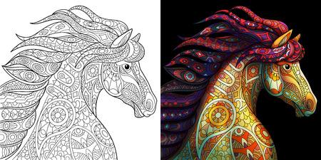 Kleurplaat van mustangpaard. Kleurloze en kleurstalen voor adulte boekbeschermers voor volwassenen. Stock Illustratie