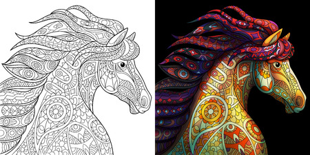 Coloring page of mustang horse. Colorless and color samples for adult antistress coloring book cover. Vettoriali