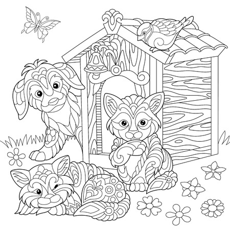 Coloring page of dog, two cats, sparrow bird and butterfly. Freehand sketch drawing for adult antistress coloring book. Vettoriali