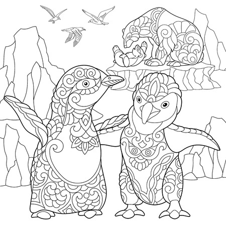 Coloring page of emperor penguins, polar bears and seagulls. Freehand sketch drawing for adult antistress coloring book.