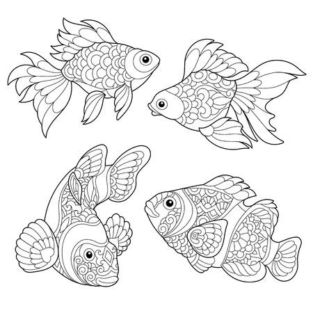 Zentangle Vektor Gold Fish Für Tattoo In Boho, Hipster Stil ...