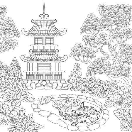 Coloriage du temple oriental. Tour pagode japonaise ou chinoise. Dessin de croquis à main levée pour livre de coloriage antistress adulte. Vecteurs