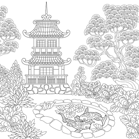 Coloring page of oriental temple. Japanese or chinese pagoda tower. Freehand sketch drawing for adult antistress coloring book.