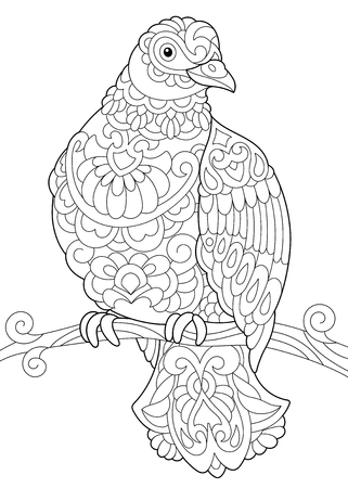 Coloring Page Of A Pigeon Sitting On Tree Branch Royalty Free