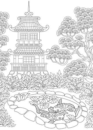 동양 사원의 색칠 공부 페이지입니다.