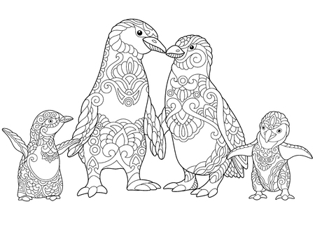 Coloring page of emperor penguins family, isolated on white background. Freehand sketch drawing for adult anti-stress coloring book in zentangle style. Vettoriali
