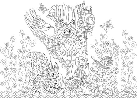 Coloring page of forest animals.