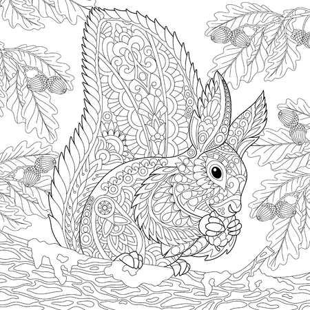 Coloring page of a squirrel sitting on an oak tree branch and eating pine cone.