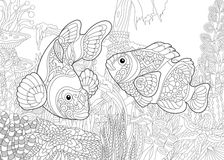 Coloring page of underwater world. Clown fish on the background of a sunken ship. Freehand sketch drawing for adult antistress coloring book in zentangle style. Illustration