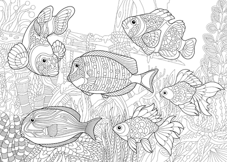 triggerfish: Coloring page of underwater world