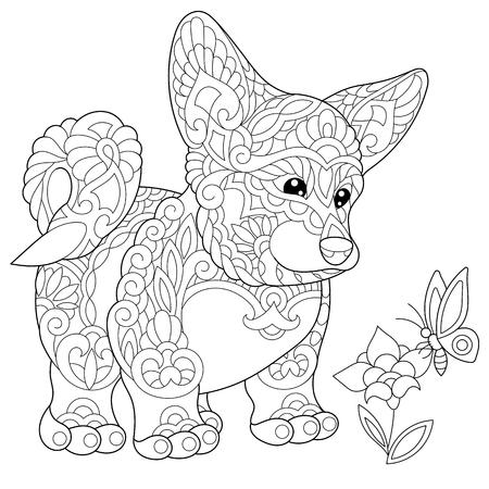 Kleurplaat van Welsh Corgi hond en vlinder op een bloem. Freehand schetstekening voor volwassen kleurboek in zentangle stijl.