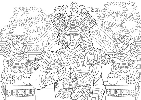 Coloring page of japanese samurai with lion statues on the background. Freehand sketch drawing for adult antistress coloring book in zentangle style.