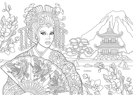 Coloring page of geisha