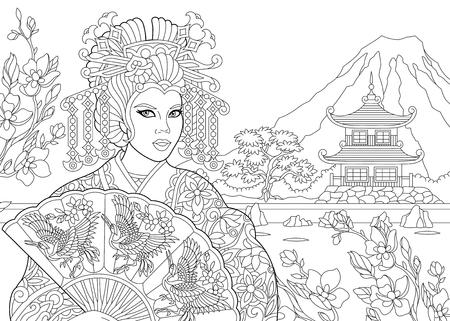 Kleurplaat van geisha Stock Illustratie