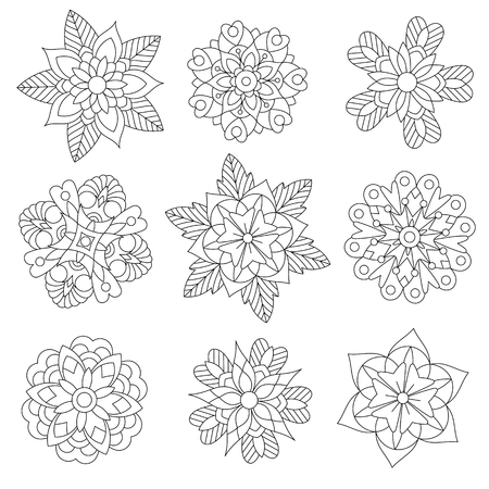Coloring page of christmas floral decorations. Collection of snowflakes. Freehand sketch drawing for adult antistress coloring book in zentangle style.