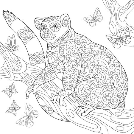 Coloring page of madagascar lemur surrounded by butterflies. Freehand sketch drawing for adult antistress coloring book in zentangle style.