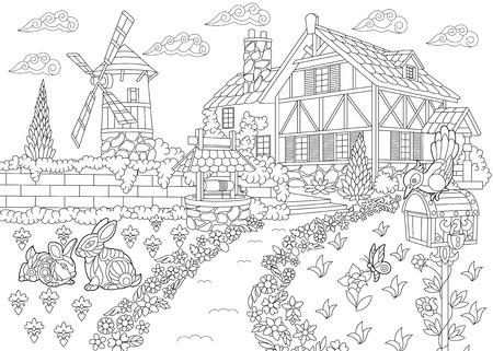 Coloriage du paysage rural. Ferme, moulin à vent, puits d'eau, boîte aux lettres, lapins et oiseau pic. Croquis à main levée dessin pour adulte livre de coloriage antistress dans le style zentangle.