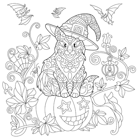 Coloring page of cat in a hat sitting on a halloween pumpkin, flying bats, spider web, lantern with a candle. Freehand sketch drawing for adult antistress coloring book in zentangle style.