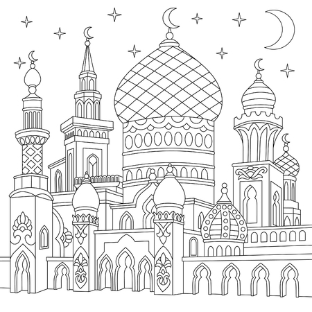 Coloring page of turkish mosque, crescent moons, twinkling stars. Islamic traditional celebration of Ramadan holiday. Freehand sketch drawing for adult antistress coloring book in zentangle style.