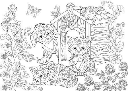 Kleurplaat van hond, twee katten, sparvogel en vlinders. Freehand schetstekening voor volwassen kleurboek in zentangle stijl.