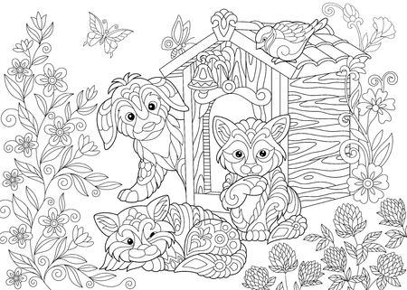 Coloring page of dog, two cats, sparrow bird and butterflies. Freehand sketch drawing for adult antistress coloring book in zentangle style.