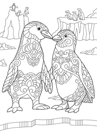 Coloriage de couple de pingouins empereur s'embrassant. Dessin de croquis à main levée pour livre de coloriage antistress adulte dans le style zentangle. Vecteurs