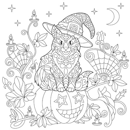 silueta de gato: Halloween coloring page. Cat in a hat, halloween pumpkin, spider web, lanterns with candles, moon and stars. Freehand sketch drawing for adult antistress coloring book in zentangle style. Vectores