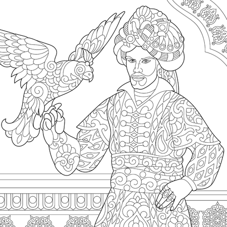 Coloring page of ottoman sultan with hawk (falcon) bird on his hand. Arabic and islamic filigree decor on the background. Freehand sketch drawing for adult antistress coloring book in zentangle style.