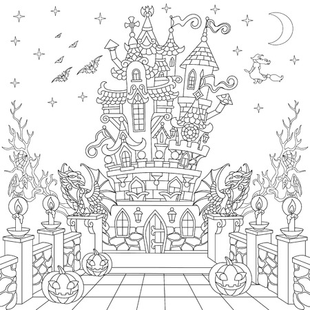 Halloween coloring page. Spooky castle, halloween pumpkins, flying bats, witch, gothic statues of dragons, moon, stars. Freehand sketch drawing for adult antistress coloring book in zentangle style. Illustration