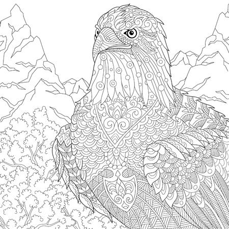 Emblema De Woodland Con águila Calva Aislada En Blanco Ilustraciones ...
