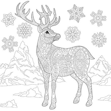 Coloring page of deer (reindeer) and winter snowflakes. Freehand sketch drawing for adult antistress coloring book in zentangle style with doodle elements. Illustration