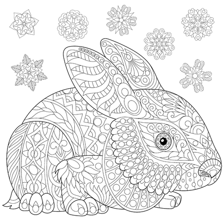 Coloring page of rabbit (bunny) and winter snowflakes. Freehand sketch drawing for adult antistress coloring book in zentangle style with doodle elements.