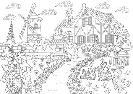 Coloriage du paysage rural. Ferme, moulin à vent, puits d'eau, boîte aux lettres, lapins, oiseau pivert, vignes. Dessin de croquis à main levée pour livre de coloriage antistress adulte dans le style zentangle.