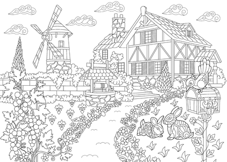 Dibujo para colorear de paisaje rural. Casa de la granja, molino de viento, pozo de agua, buzón, conejitos, pájaro carpintero, vides de uva. Dibujo a mano alzada dibujo para colorear antiestrés adulta en estilo zentangle.