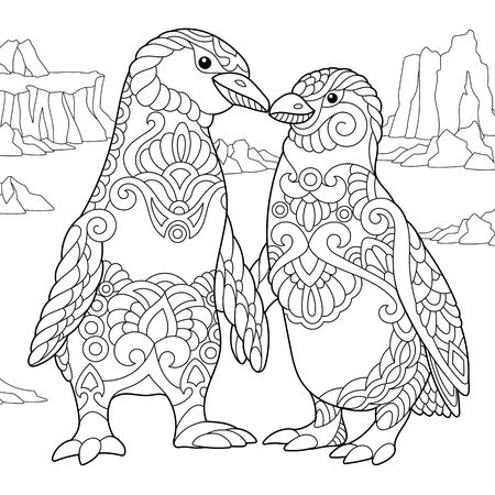 Coloring page of emperor penguins couple in love. Freehand sketch drawing for adult antistress coloring book