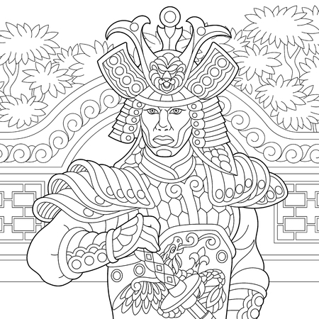 Coloring page of japanese samurai with katana sword. Freehand sketch drawing for adult antistress coloring book Vettoriali