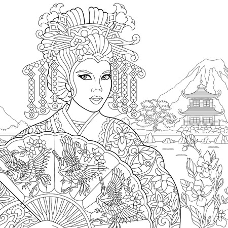 Coloring page of geisha (japanese dancing actress) holding paper fan with crane birds. Freehand sketch drawing for adult antistress coloring book Illustration