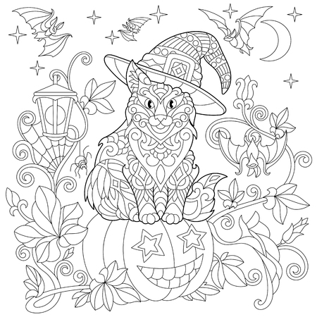 Halloween coloring page. Cat in a hat, halloween pumpkin, flying bats, spider web, hanging lantern, moon and stars. Freehand sketch drawing for adult antistress coloring book
