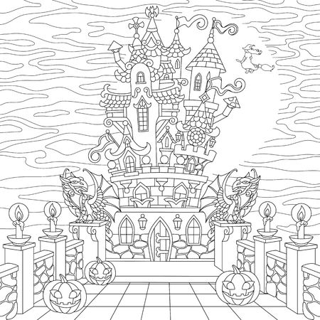Halloween coloring page. Spooky castle, halloween pumpkins, witch, gothic statues of dragons, full moon silhouette. Freehand sketch drawing for adult antistress coloring book