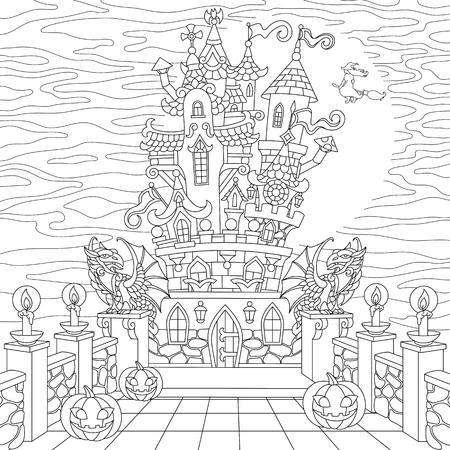 Halloween kleurplaat. Griezelig kasteel, Halloween-pompoenen, heks, gotische standbeelden van draken, volle maansilhouet. Schets uit de vrije hand voor adulte babyslof kleurboek Vector Illustratie