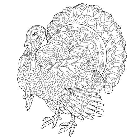 Kleurplaat van Turkije voor Thanksgiving Day wenskaart. Schets uit de vrije hand tekenen voor volwassen antistress kleurboek met doodle en zentangle elementen. Vector Illustratie
